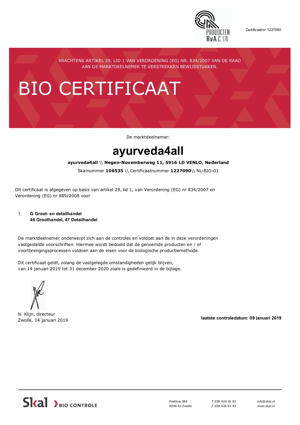 Bio certificaat, groot- en detailhandel