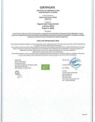 Organic India P Ltd. 801983 EU scope certificate2019